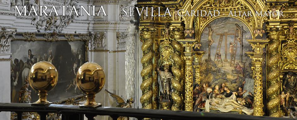 El altar mayor de la Caridad. Simplemente, la cumbre del retablo barroco. Simplemente, la culminación del discurso de Miguel de Mañara. La más alta cima de Pedro Roldán y Bernardo Simón de Pineda.