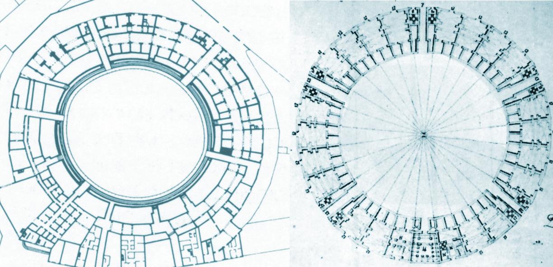 Planta actual de la plaza y diseño original de San Martín
