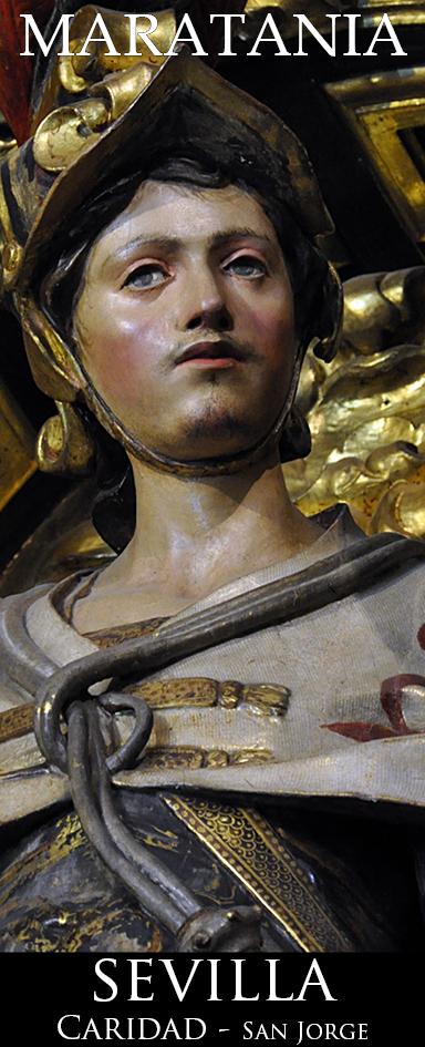 San Jorge de Capadocia, de pie, sin caballo, efebo barbiilampiño, victorioso del dragón