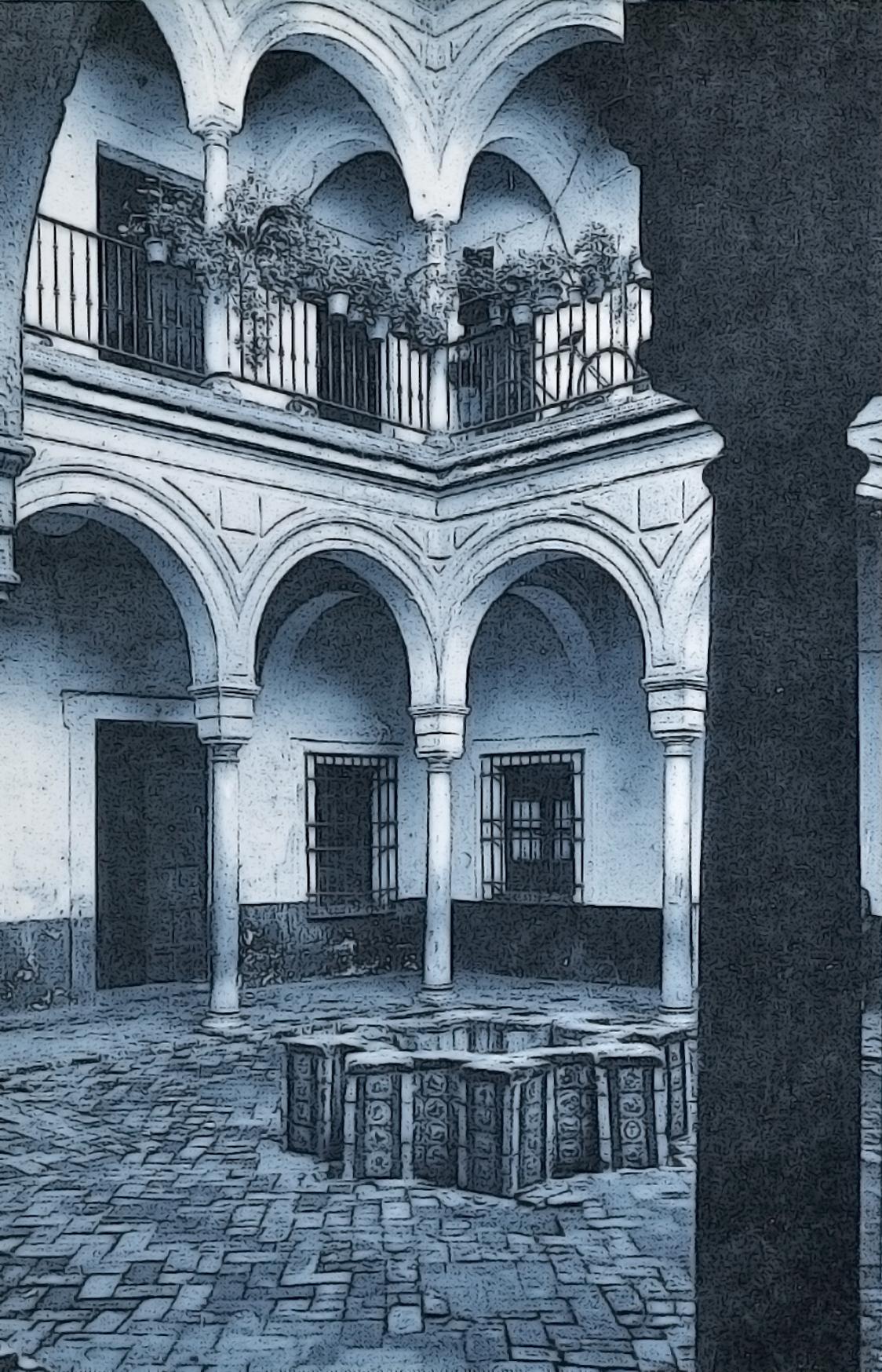 Dibujo del patio a partir de una foto de Arquitectura Civil Sevillna