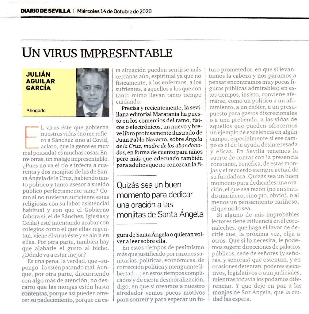 Julián Aguilar, habla sobre nuestro libro en su artículo en el Diario de Sevilla: